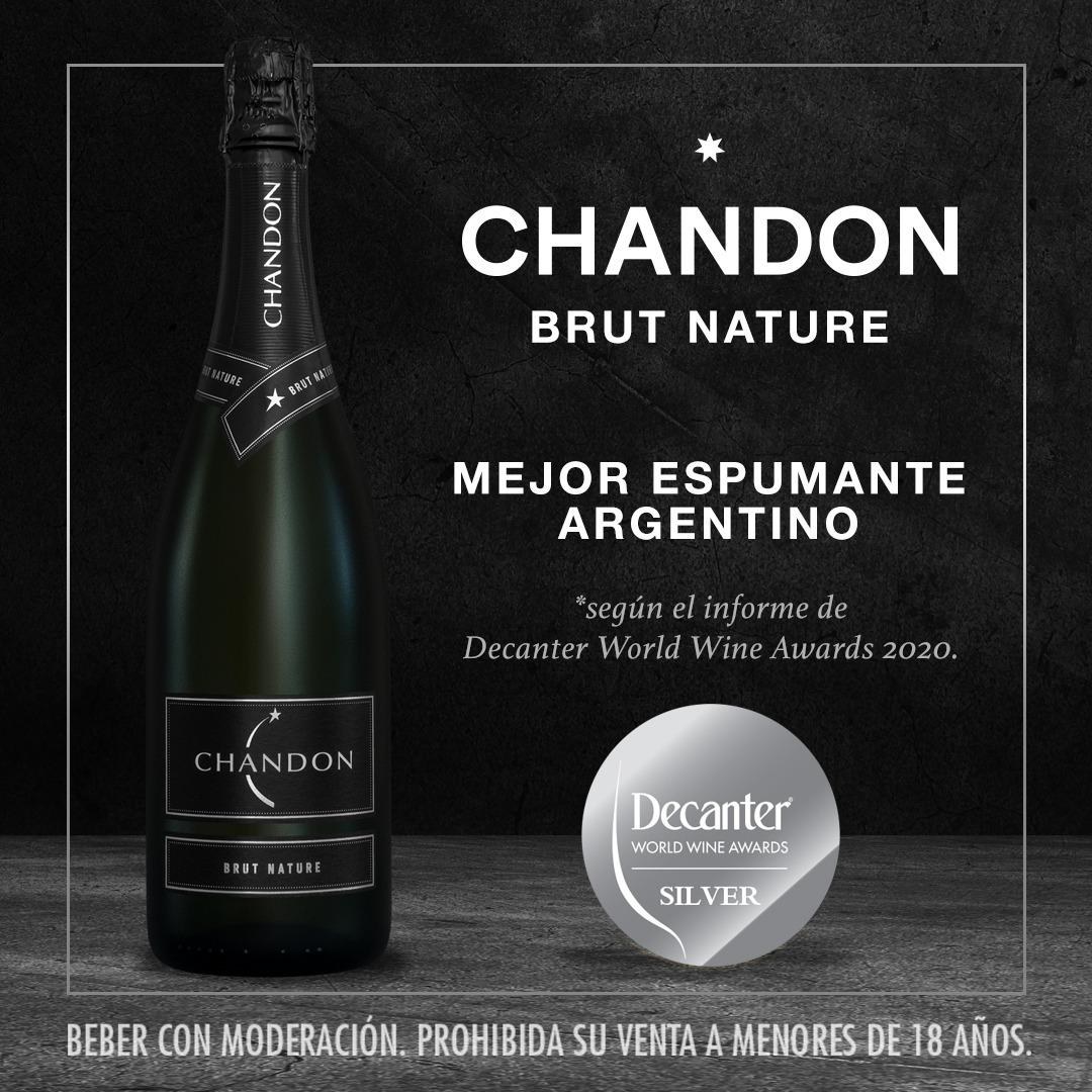 Chandon Brut Nature fue elegido como el mejor espumante argentino obteniendo medalla de Plata en los premios Decanter World Wine Awards 2020