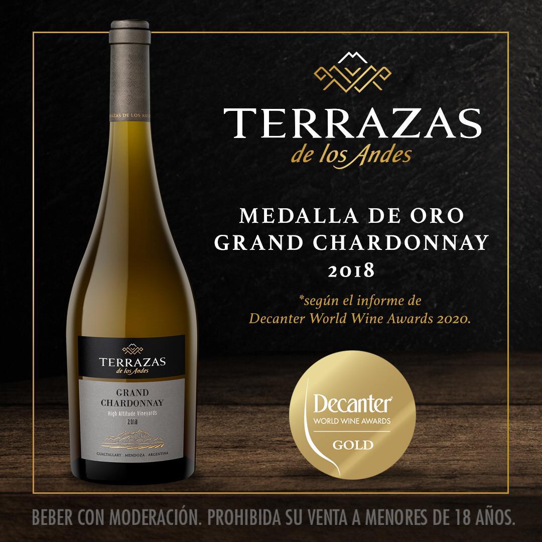 Terrazas de los Andes Grand Chardonnay 2018 fue reconocido como el mejor vino blanco de Argentina en el informe de Decanter World Wine Awards 2020
